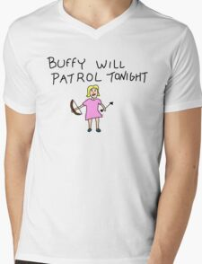Buffy Will Patrol Tonight Colour Mens V-Neck T-Shirt
