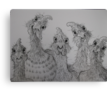 Chooks in a Row Canvas Print
