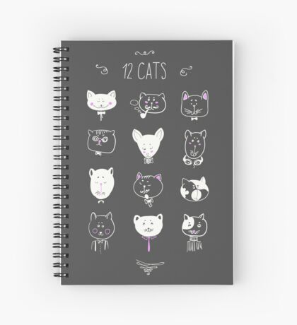 Set of cats heads. Face kitten, whiskers and ears, muzzle and wool. Vector illustration Spiral Notebook