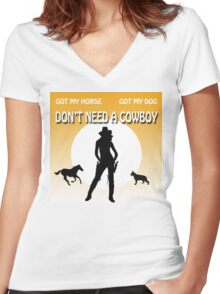 COWGIRL POWER Women's Fitted V-Neck T-Shirt