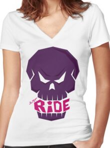 SKULL: JUST RIDE (Female Color) Women's Fitted V-Neck T-Shirt