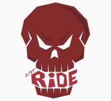 SKULL: JUST RIDE (Red Skull)  Kids Tee