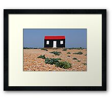 Beach Hut with a Red Roof Framed Print