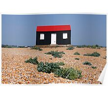 Beach Hut with a Red Roof Poster