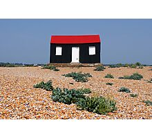 Beach Hut with a Red Roof Photographic Print