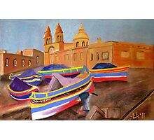 painting a luzzu boat in Malta Photographic Print