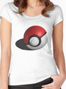 3D Style Pokemon Pokeball Women's Fitted Scoop T-Shirt