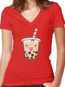 Kawaii Boba Milk Tea (Tapioca Bubble Tea) Women's Fitted V-Neck T-Shirt