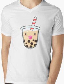 Kawaii Boba Milk Tea (Tapioca Bubble Tea) Mens V-Neck T-Shirt