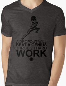 Rock Lee - A Dropout Will Beat A Genius Through Hard Work - Black Mens V-Neck T-Shirt
