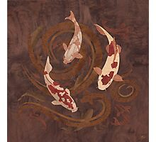 Koi Fish - Wood Art Photographic Print