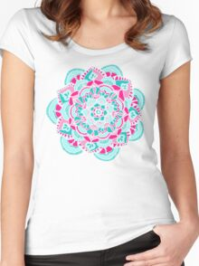 Hot Pink & Teal Mandala Flower Women's Fitted Scoop T-Shirt