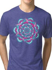 Hot Pink & Teal Mandala Flower Tri-blend T-Shirt