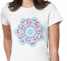 Hot Pink & Teal Mandala Flower Womens Fitted T-Shirt