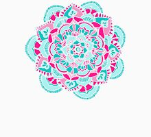 Hot Pink & Teal Mandala Flower Womens Fitted T-Shirt