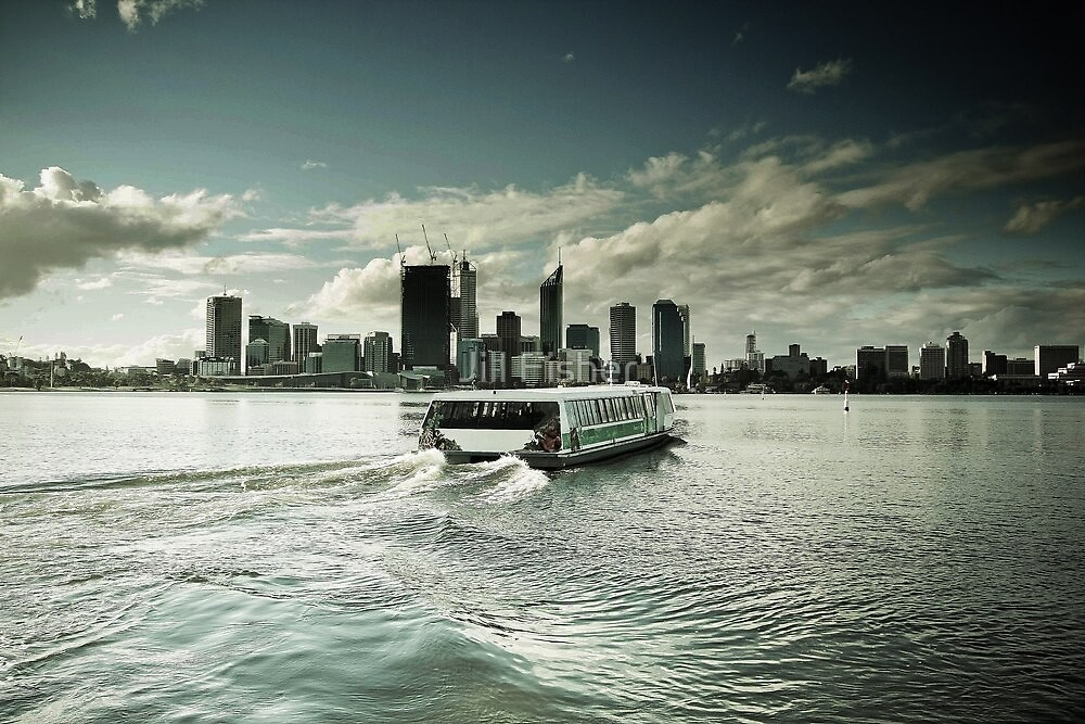 Skyline from South Perth with Ferry by Jill Fisher