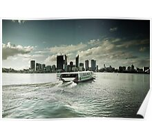 Skyline from South Perth with Ferry Poster