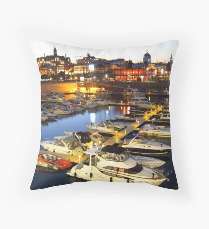 Montreal Habor at Night Throw Pillow