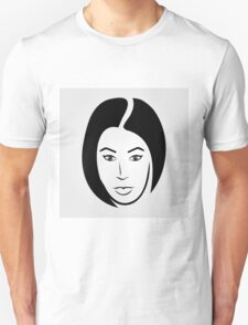 Face of a woman in short hair T-Shirt