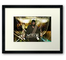 Jesus, No demons allowed in this home! Framed Print