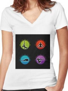 Yoga pilates  Women's Fitted V-Neck T-Shirt