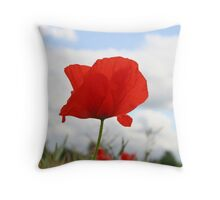 Single Poppy against blue sky Throw Pillow