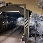 The Covered Bridge 6 Infrared - Gatineau Park Quebec by Debbie Pinard