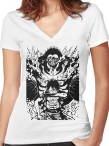 Luffy Gear 4 Transformation Women's Fitted V-Neck T-Shirt