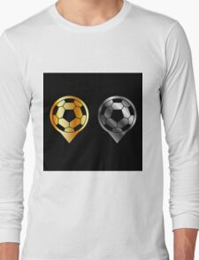 Footballs inside gold and silver placement- football stadium symbol  Long Sleeve T-Shirt
