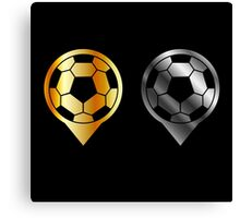 Footballs inside gold and silver placement- football stadium symbol  Canvas Print
