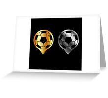 Footballs inside gold and silver placement- football stadium symbol  Greeting Card