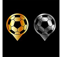 Footballs inside gold and silver placement- football stadium symbol  Photographic Print