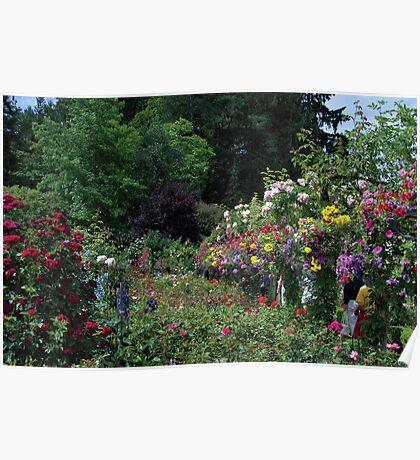 Flowers + Garden Path  •  Butchart Gardens  •  Victoria, Canada Poster