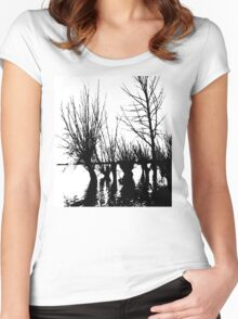 Trees in water Women's Fitted Scoop T-Shirt