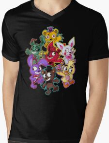 Five Nights at Freddys 1-4 Chibi Mens V-Neck T-Shirt