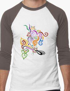Calligraphic Motif Men's Baseball ¾ T-Shirt