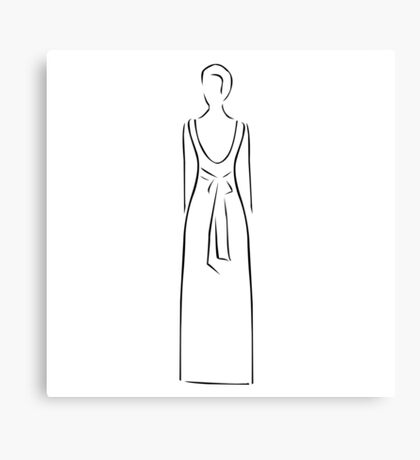 Abstract drawing of a slim woman wearing backless dress  Canvas Print