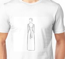 Abstract drawing of a slim woman wearing backless dress  Unisex T-Shirt