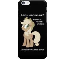 Applejack lies with Text iPhone Case/Skin