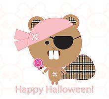 Kawaii Pirate Beaver by sweettoothliz