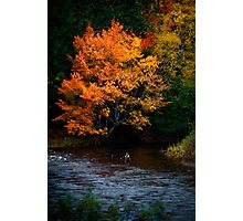 Angler on an Autumn River Photographic Print