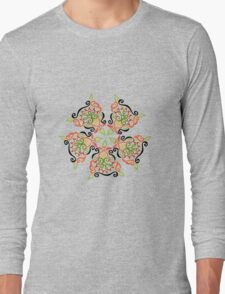 Calligraphic Motif Long Sleeve T-Shirt
