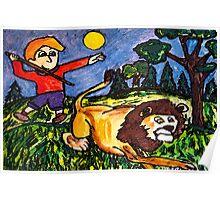 Lion Hunt Poster