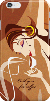 Call you for Coffee - iPhone case by KenRinkel