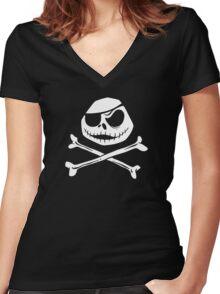 Jolly Jack Roger Women's Fitted V-Neck T-Shirt