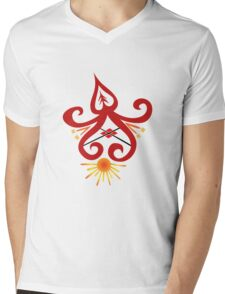 Calligraphic Motif Mens V-Neck T-Shirt