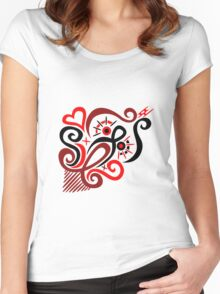 Calligraphic Motif Women's Fitted Scoop T-Shirt