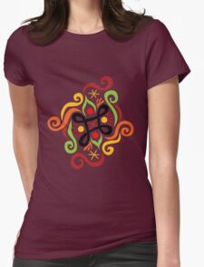 Calligraphic Motif Womens Fitted T-Shirt