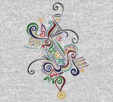 Calligraphic Motif One Piece - Short Sleeve