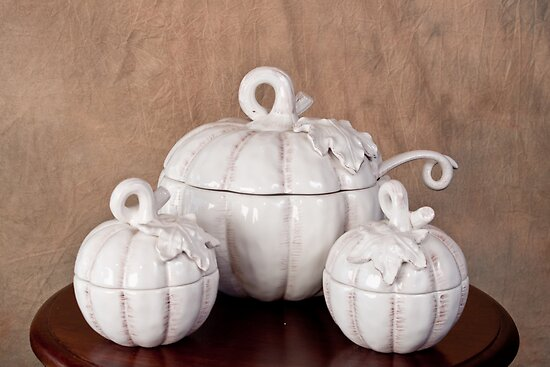 White Pumpkin Soup Bowl with Serving Bowls by Sherry Hallemeier